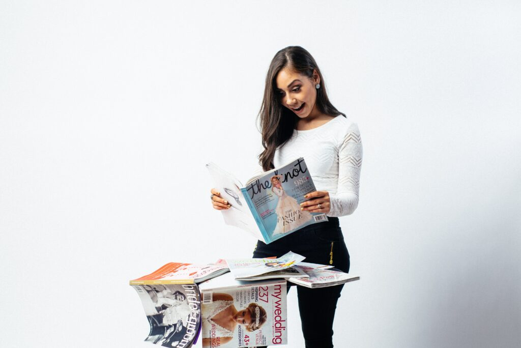 woman interested in print marketing