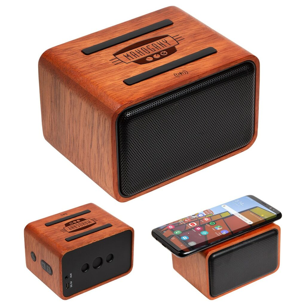 Wireless speaker with a wireless charger